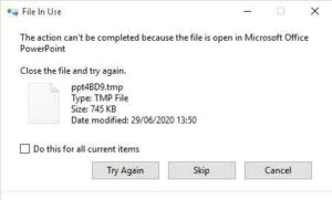 file in use click on skip