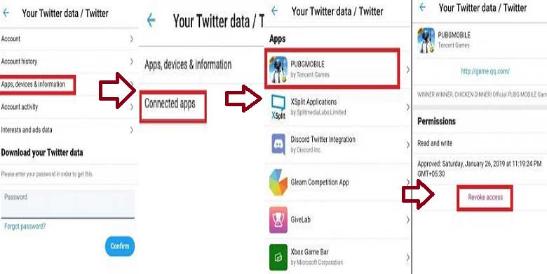 remove pubg app from twitter using mobile