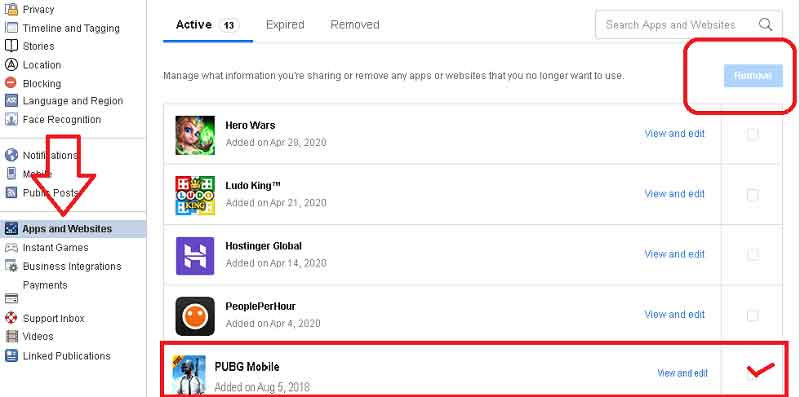 open apps and website and select pubg and click remove