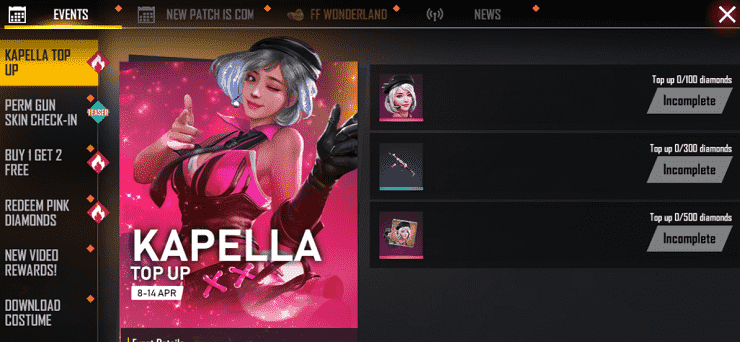 Free Fire: Get Free Kapella character with 100 Diamond Top-up 1
