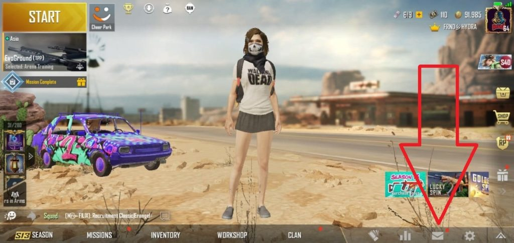 go to pubg mobile and open mail for redeem code reward