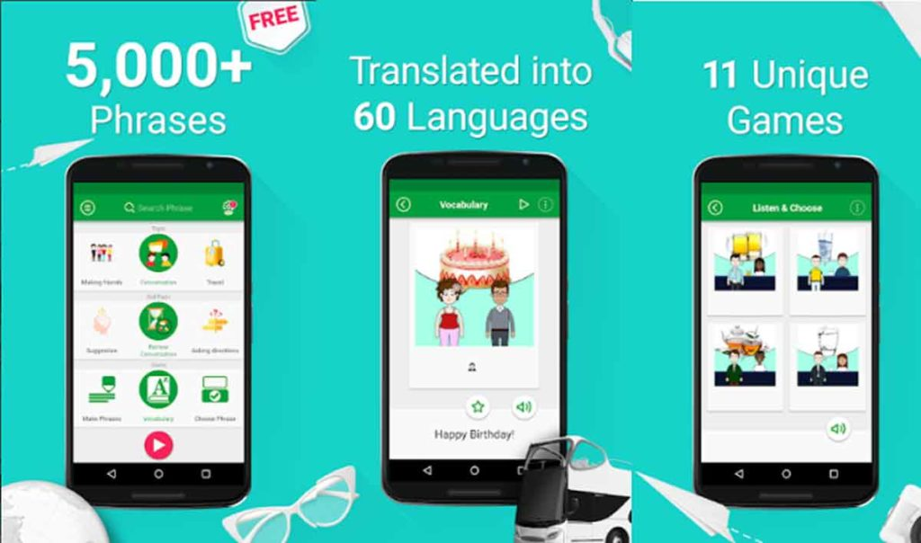 speak english with 5000 phases and games