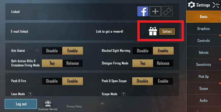 link email account with pubg mobile and collect gift
