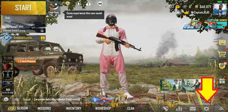 open pubg mobile and click on settings