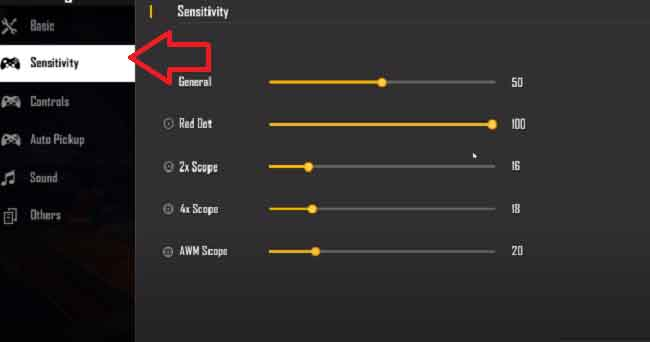 Sensitivity Settings explained in Free Fire