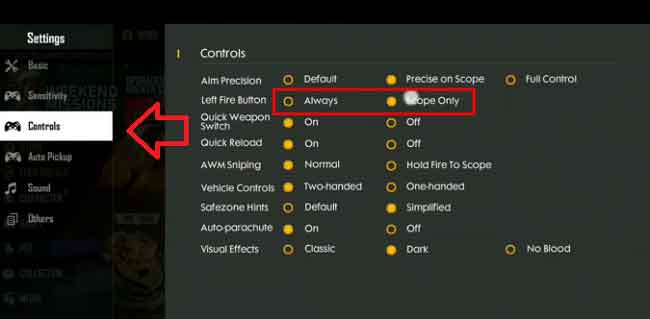 Control settings guide in Free Fire