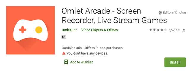 Install Omlet arcade on Android to stream