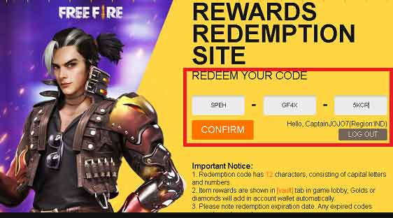 free fire redeem code how to use