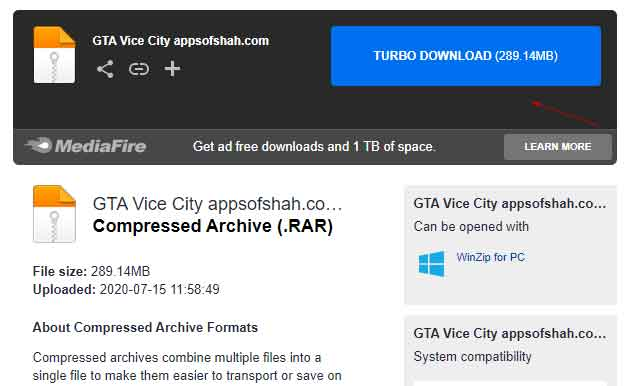 download and isntall gta vice city under 300 mb for free